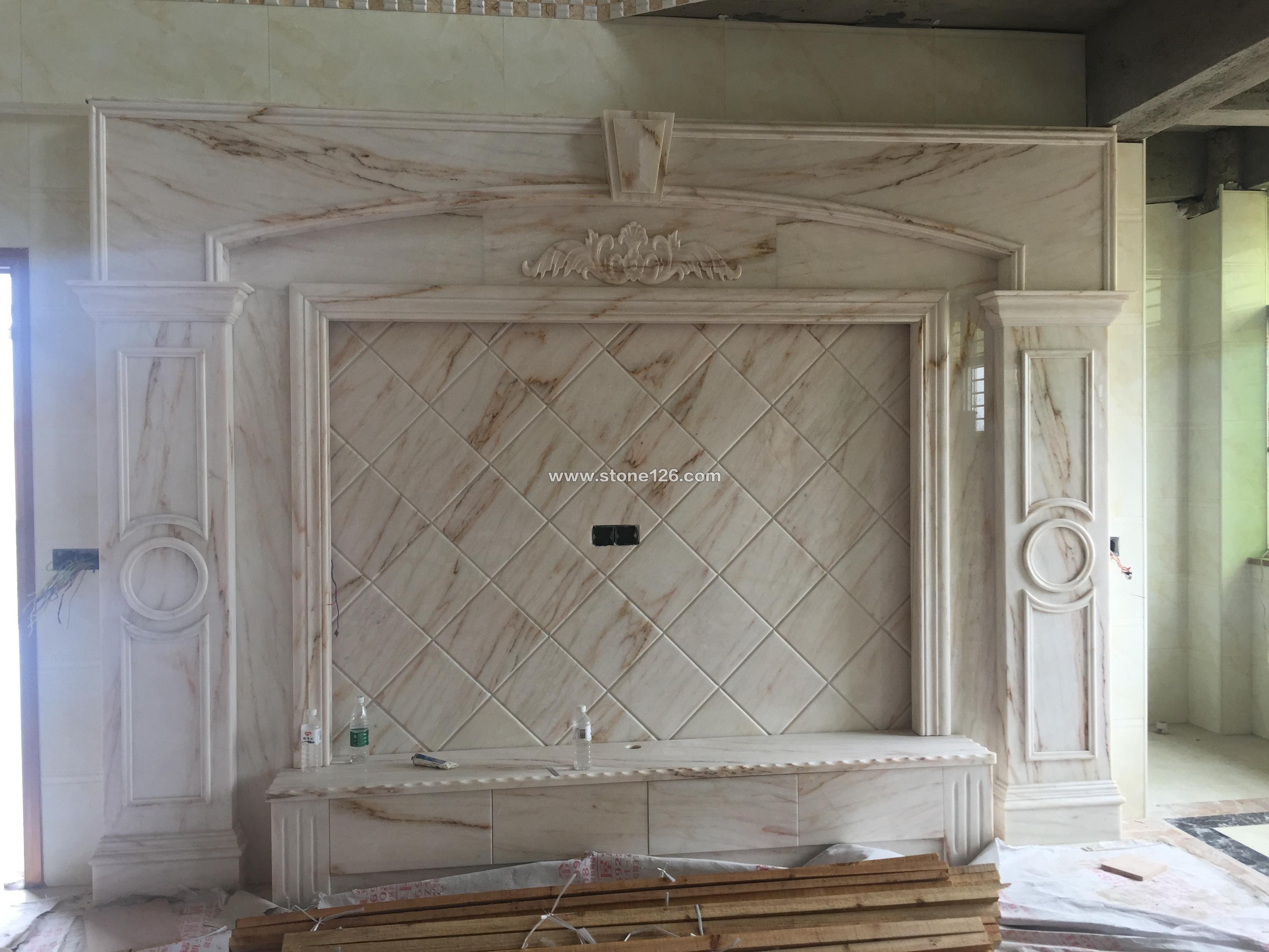 背景墙 产品展示 荣瑞异形石材 背景墙 异形线条 浮雕 水刀拼花 国内