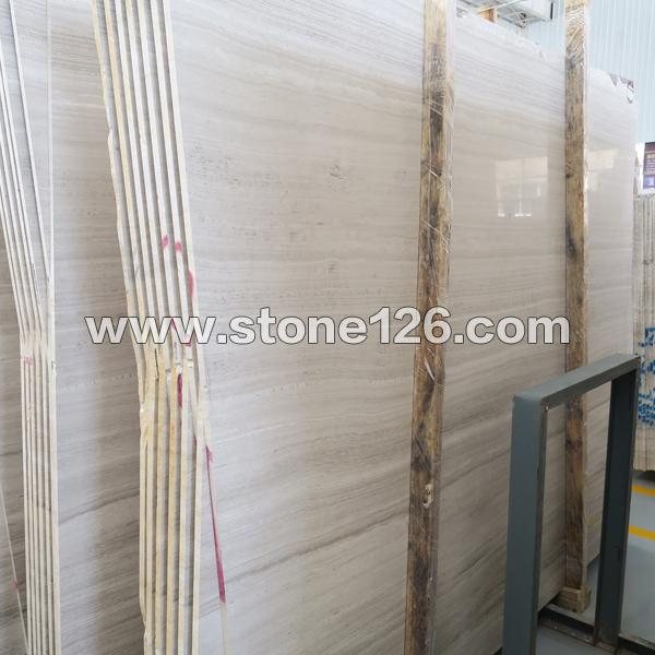 嘉岩石材大量现货供应白木纹大板 正反磨