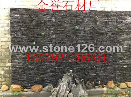 流水石 叠水石 水幕墙石 线条石 背景墙石厂家价格 金誉石材厂