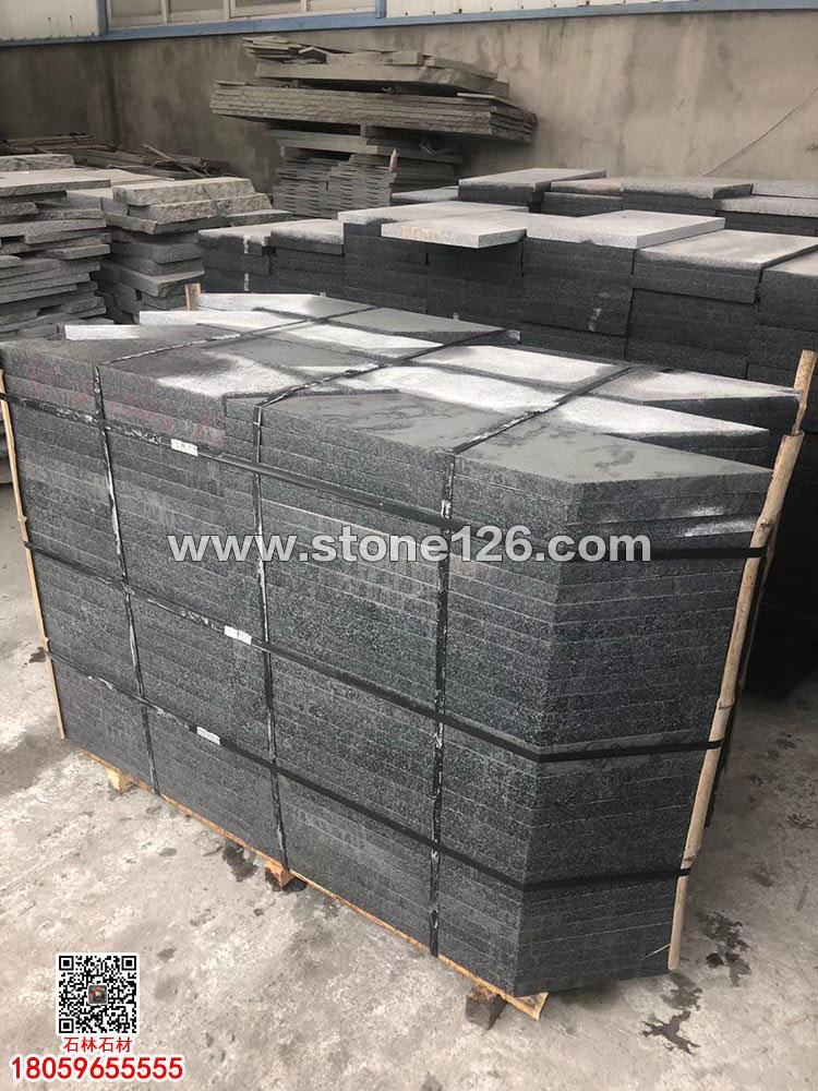中国G653火烧面地铺石-灰点麻花岗岩荔枝面铺路砖-小蓝宝工程板